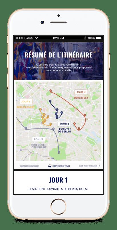 Image d'iPhone avec un itinéraire à Berlin
