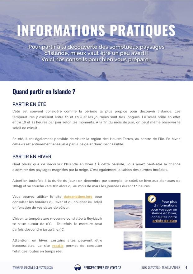 Carnet de route de l'Islande, Informations pratiques
