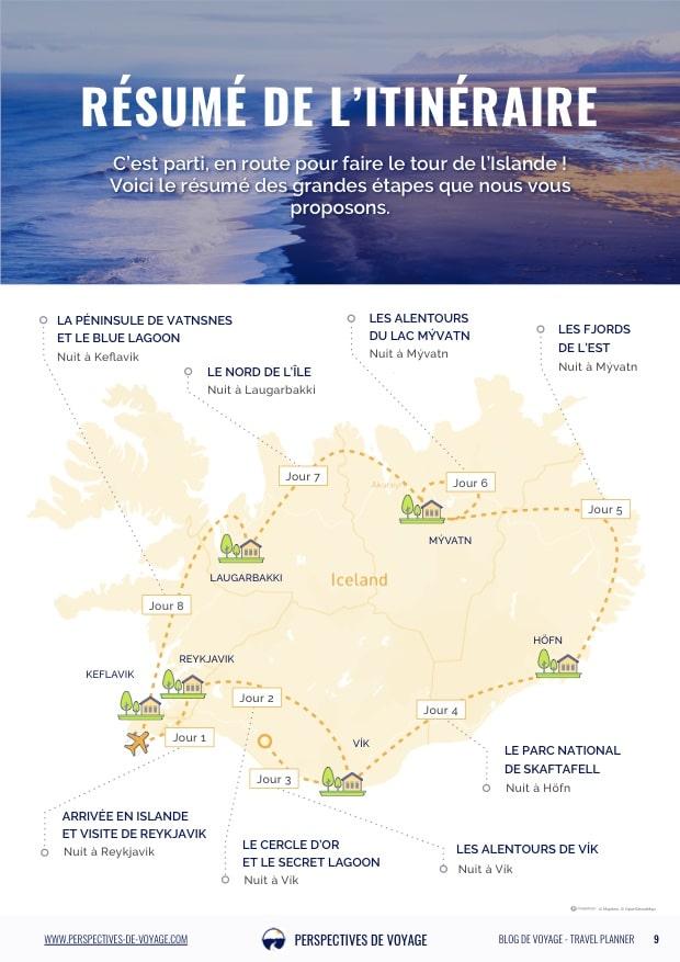 La carte de notre road trip en Islande