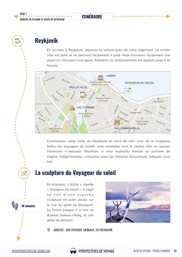 Itinéraire en Islande, détail du jour 1