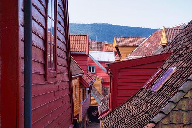 L'arrière des maisons de Bryggen