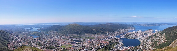 La vue depuis le mont Ulriken