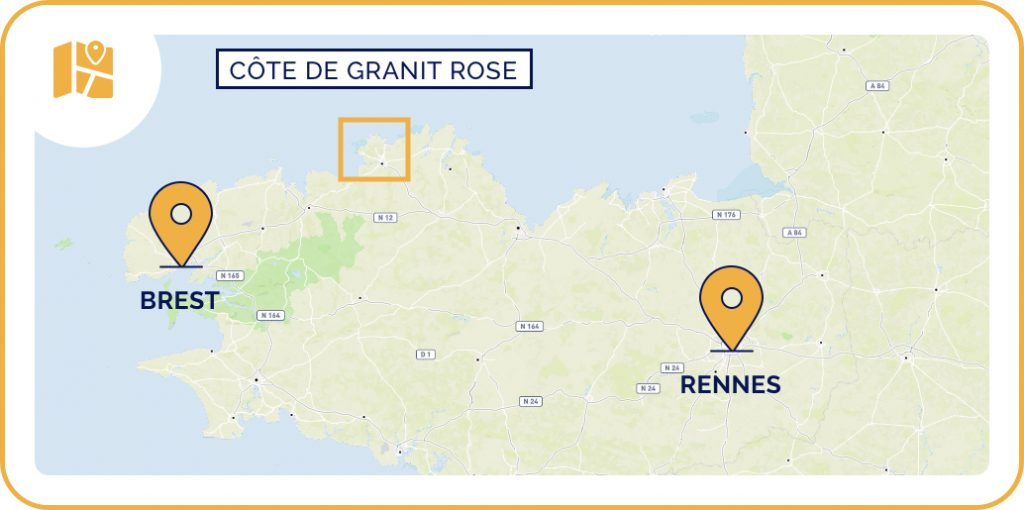 Carte de la côte de Granit rose en Bretagne