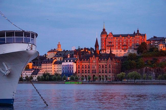 Coucher de soleil sur les hauteurs de Stockholm