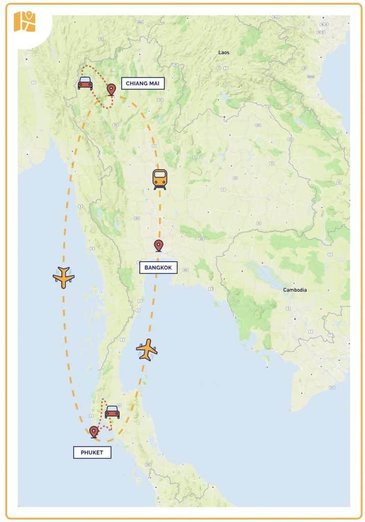 Carte de notre itinéraire de 3 semaines en Thailande