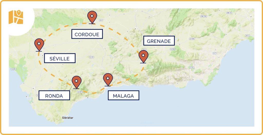 Carte de notre itinéraire en Andalousie