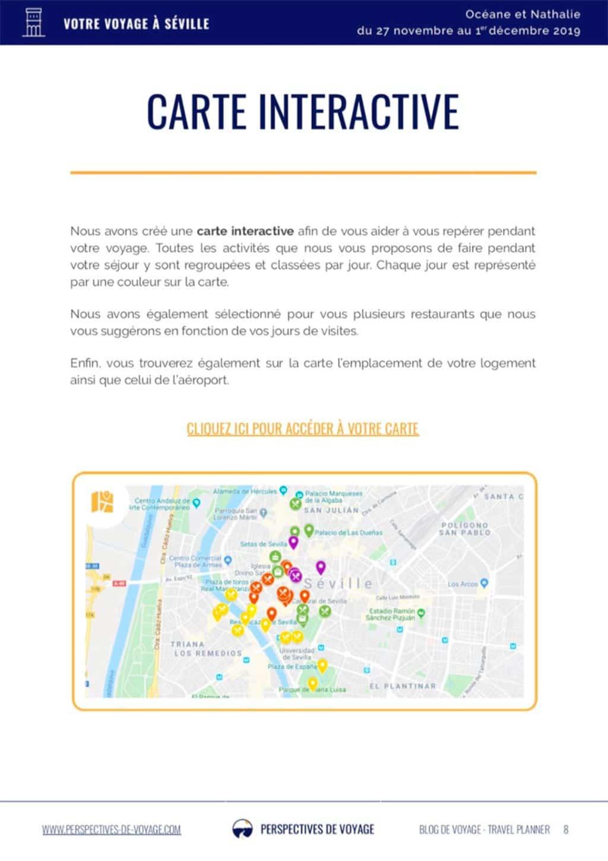 Travel planner, bonne idee. Carnet de route Seville