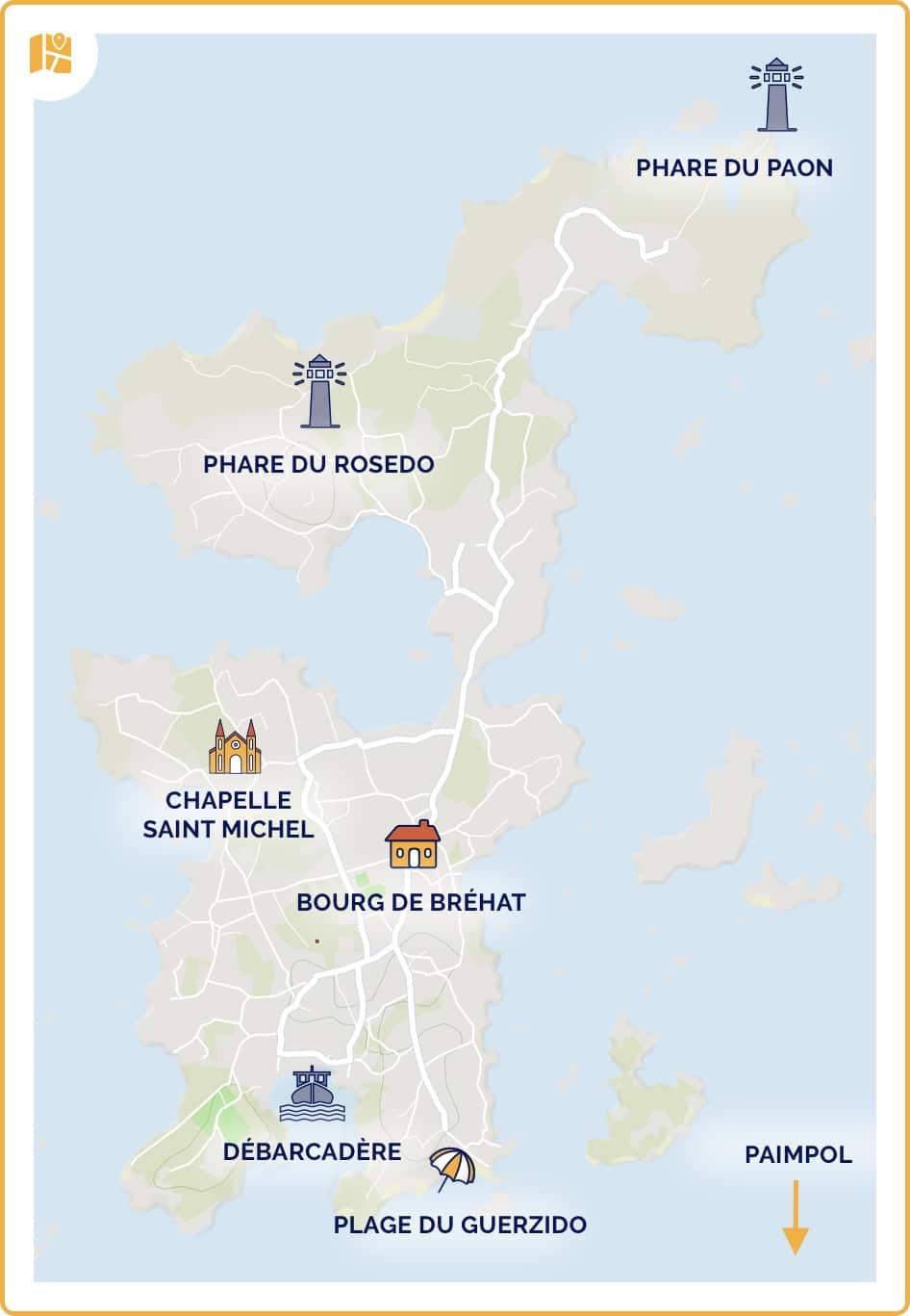 Carte de l'île de Bréhat en Bretagne