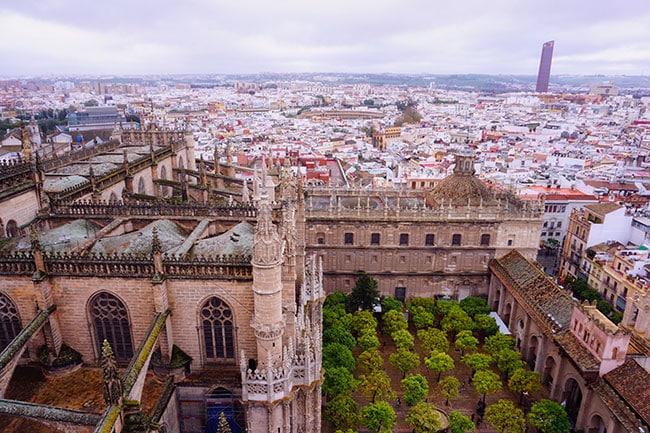 Vue depuis la cathédrale de Seville en Espagne
