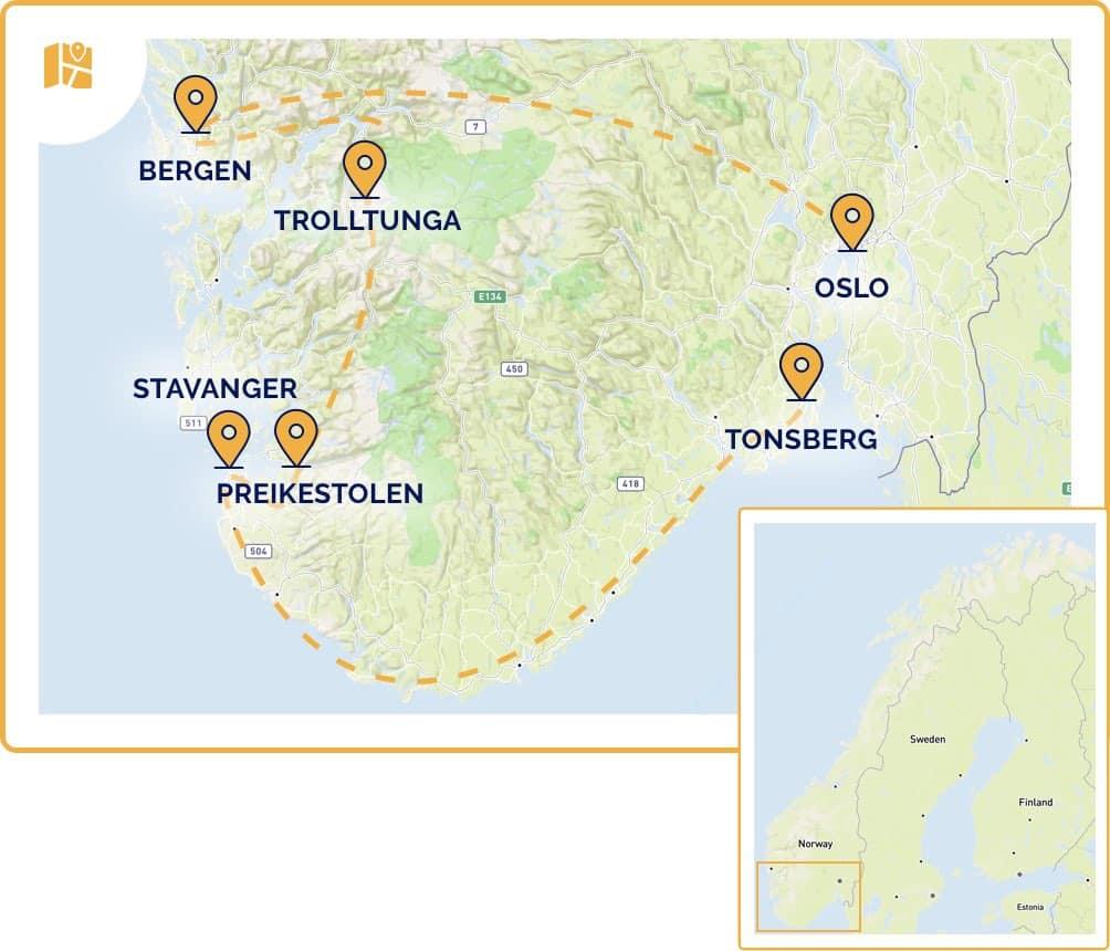 carte de notre road trip en Norvège