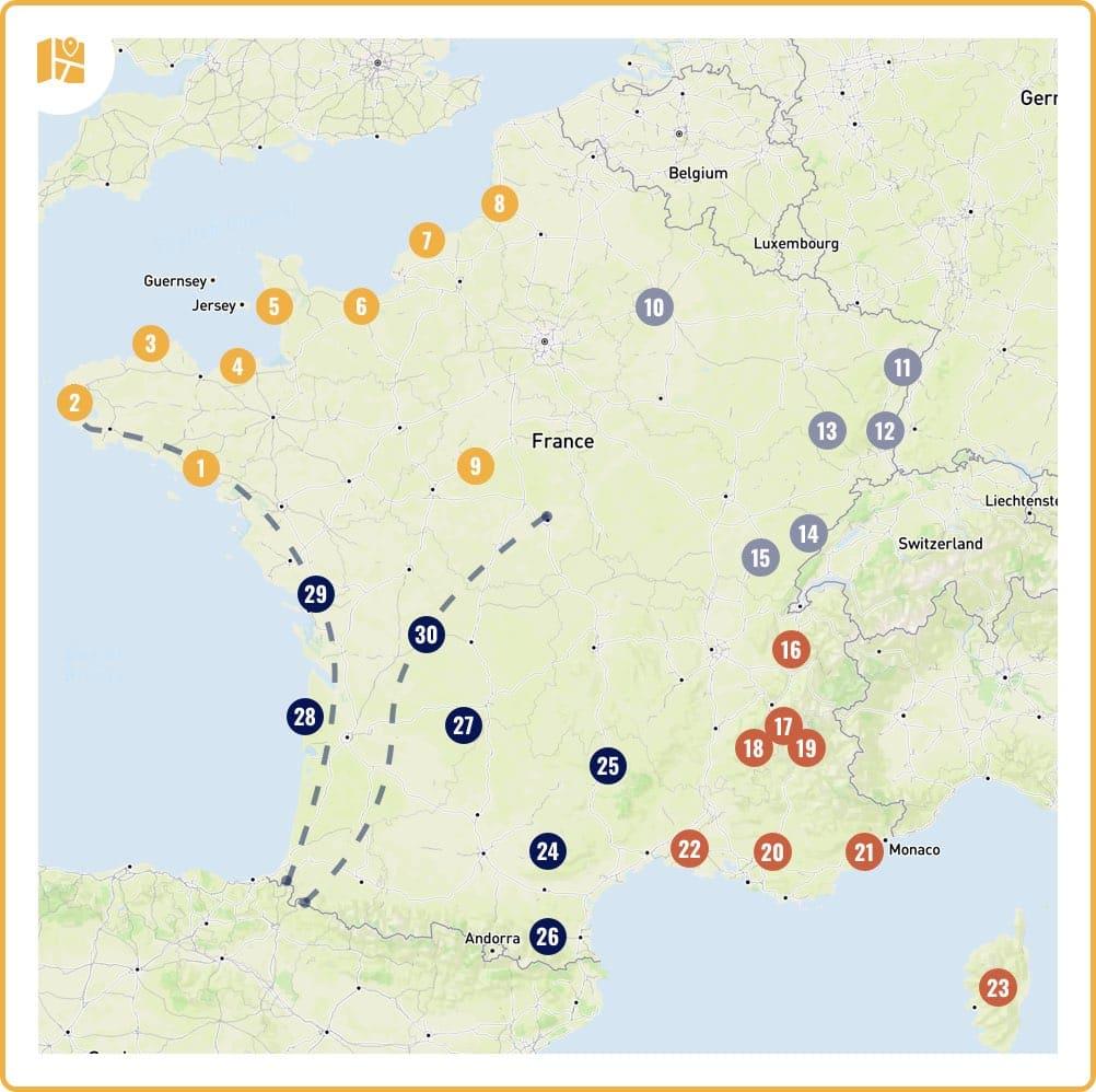 Carte : où partir en France cet été ?