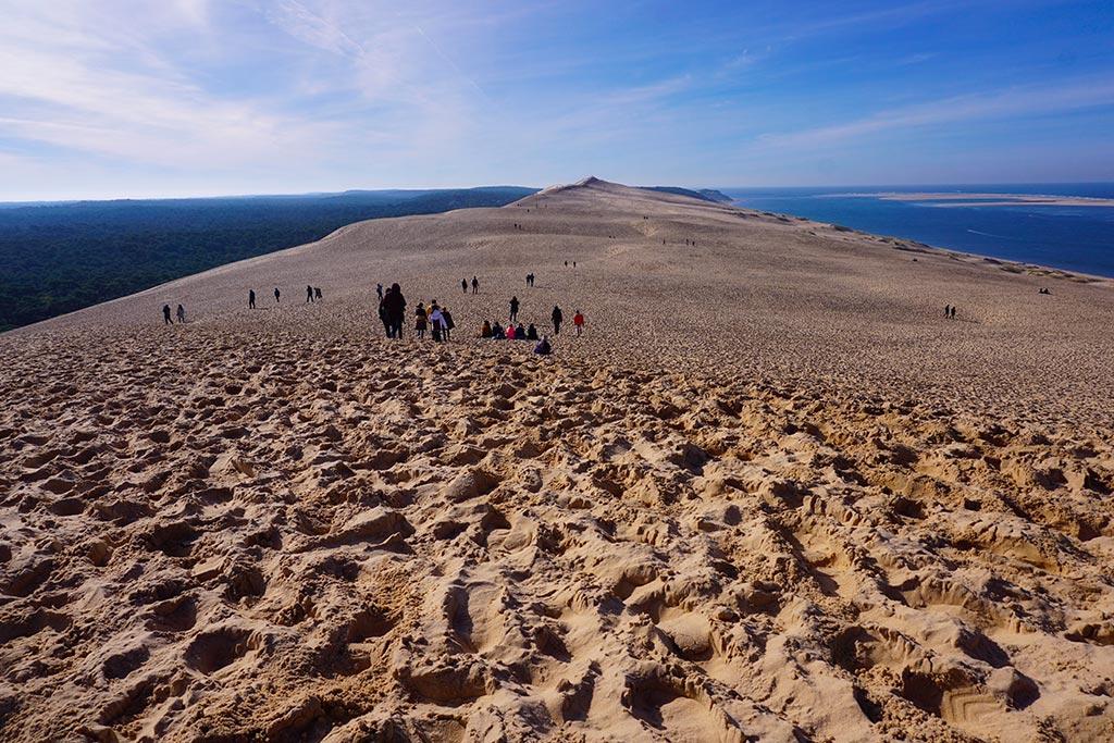 Image de la dune du pilat avec plusieurs groupes de personnes en train de se promener