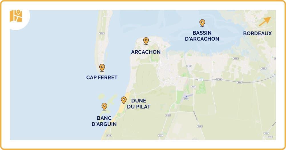 Carte de la dune du pilat, incluant le cap Ferret et le Bassin d'Aracachon