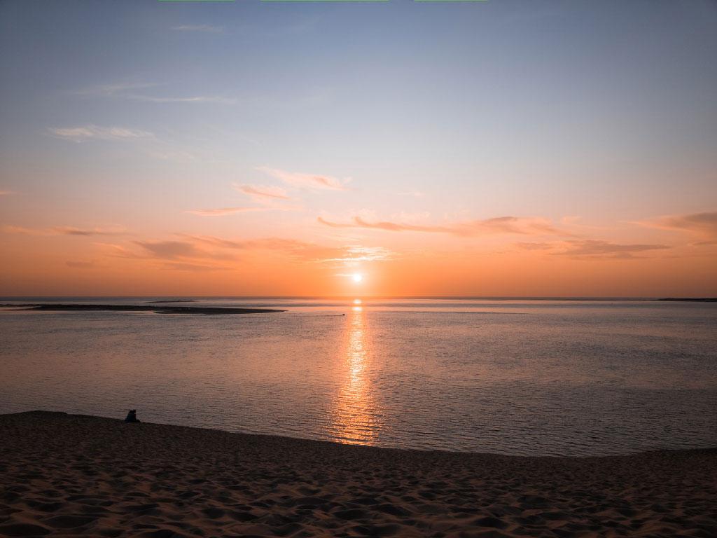 Image du coucher du soleil à la dune du pilat