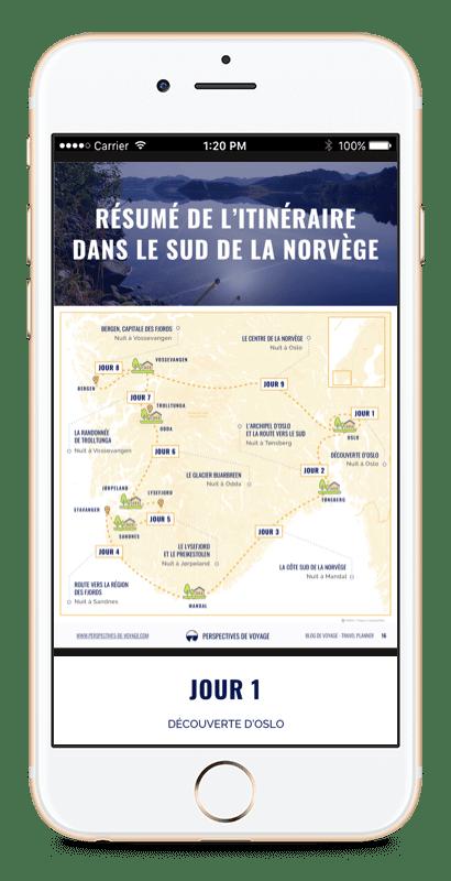Image iPhone avec carte de la Norvège