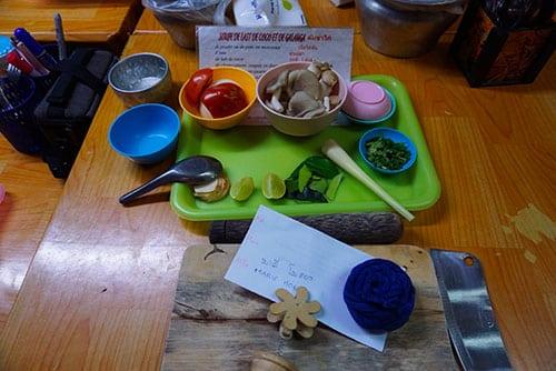 Ingrédients nécessaires à la réalisation d'un cours de cuisine à Chiang Mai
