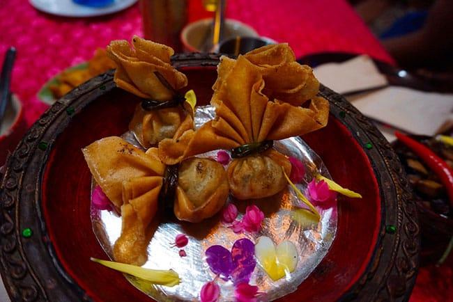 Aumonière réalisée lors d'un cours de cuisine à Chiang Mai