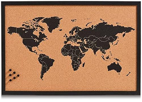 image d'un tableau carte du monde en liège