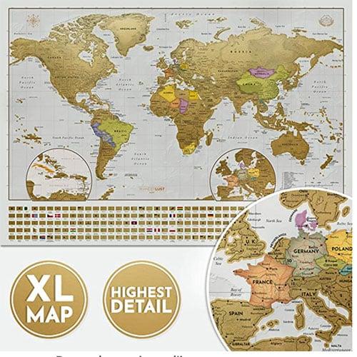 Image d'une carte du monde à gratter