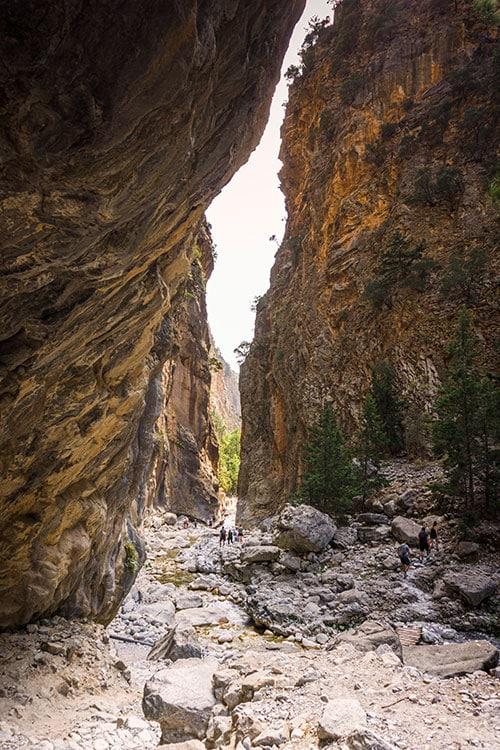 Photographie des Gorges de Samaria à l'approche des portes de fer