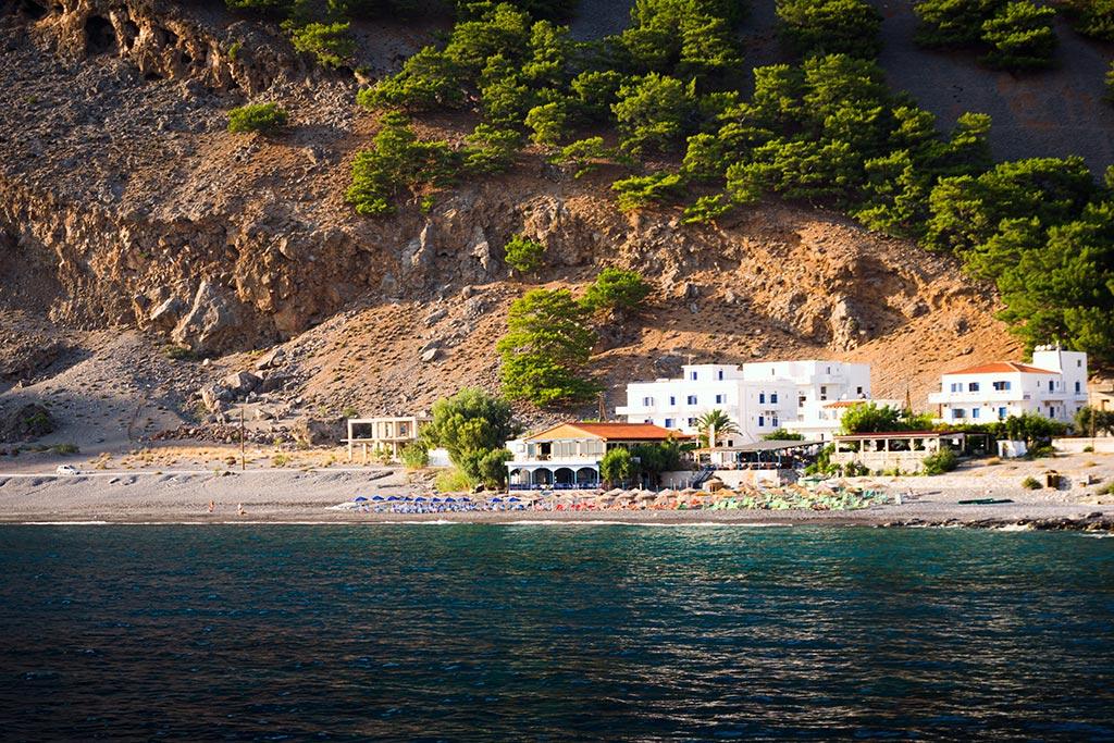 Photographie de la plage d'Agia Roumeli à la sortie des Gorges de Samaria