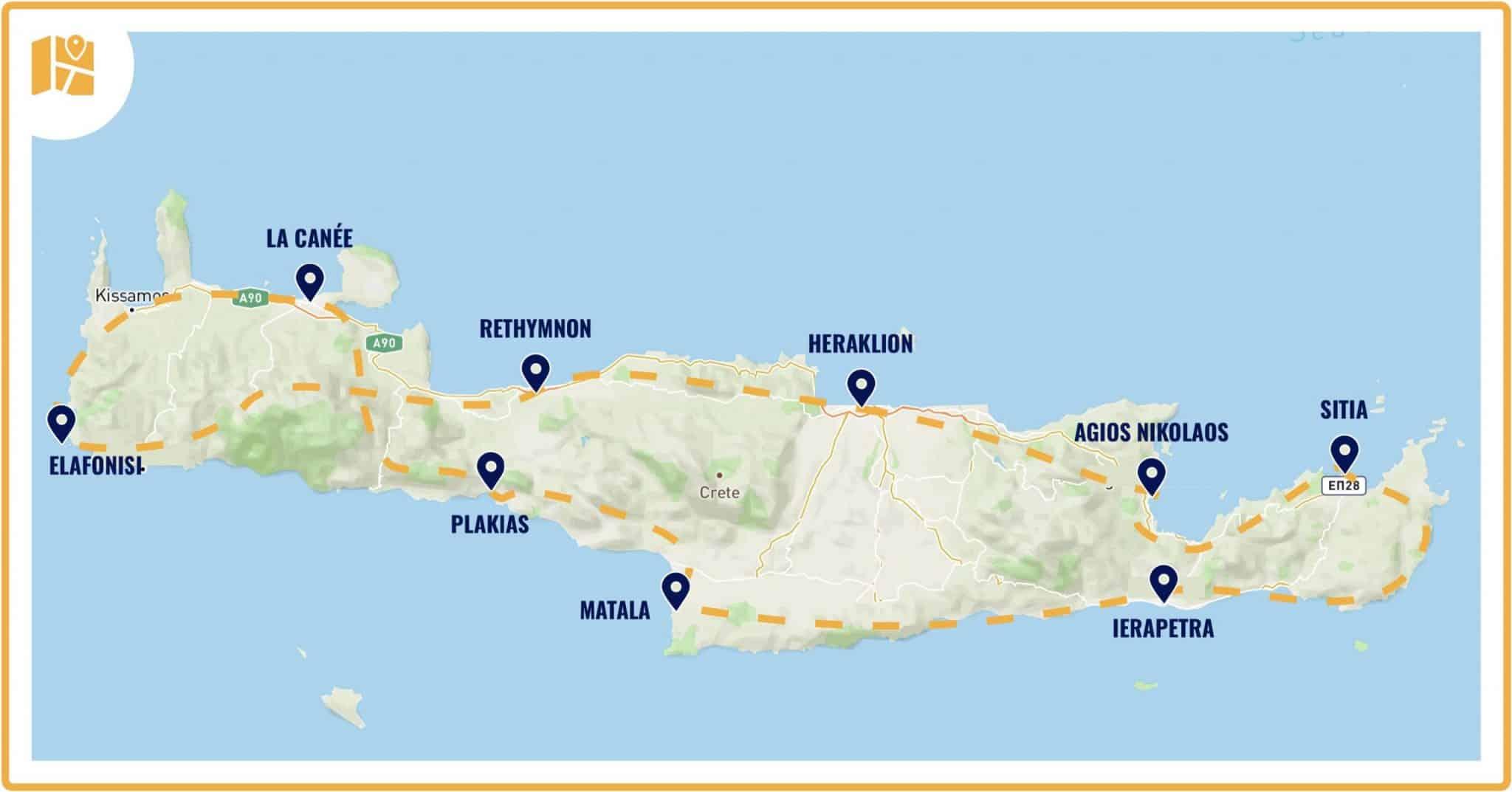 Carte schématique de notre road trip en Crète