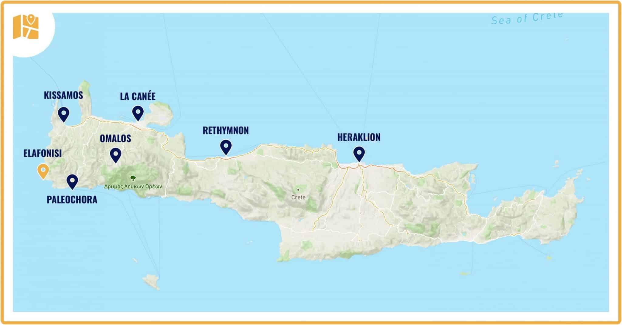 Carte pour situer la plage d'elafonisi en Crète