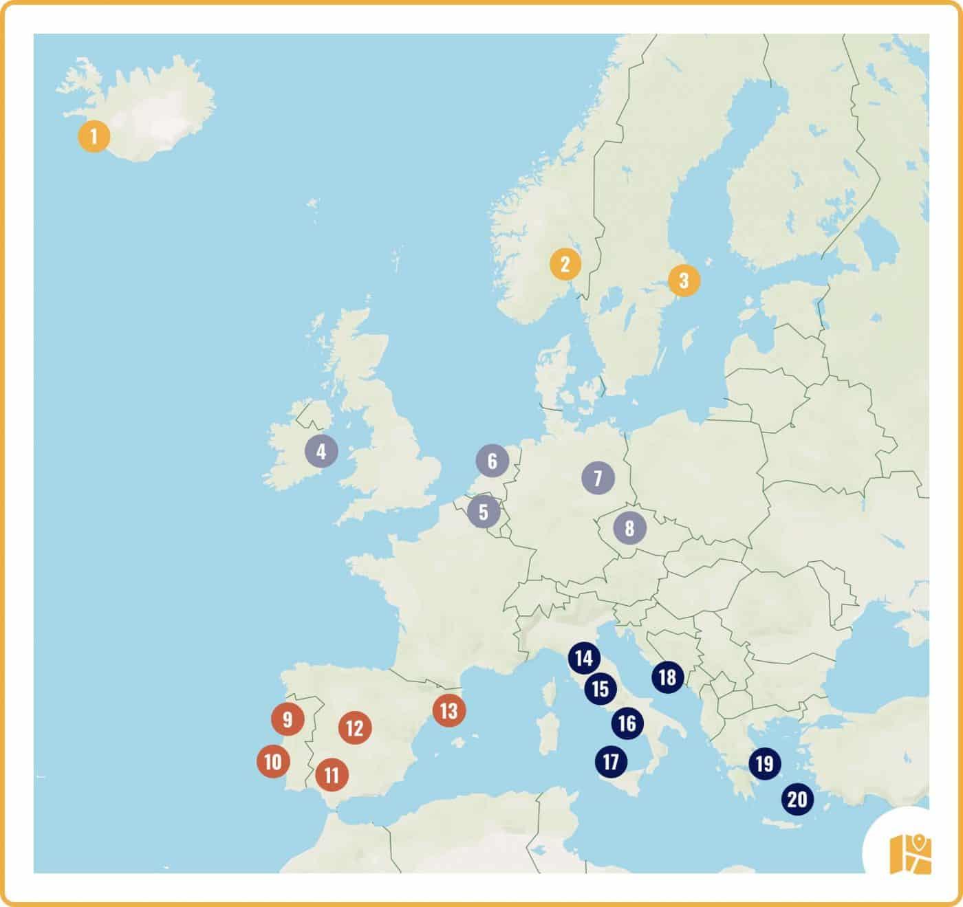 Carte de 20 idées de week-end en Europe