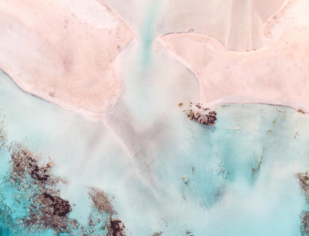 Vue aérienne de la plage d'Elafonisi