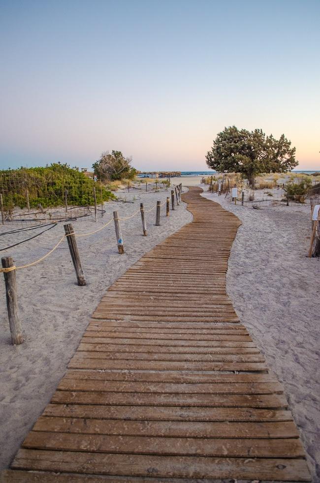 Photographie du chemin d'accès à la plage d'Elafonisi