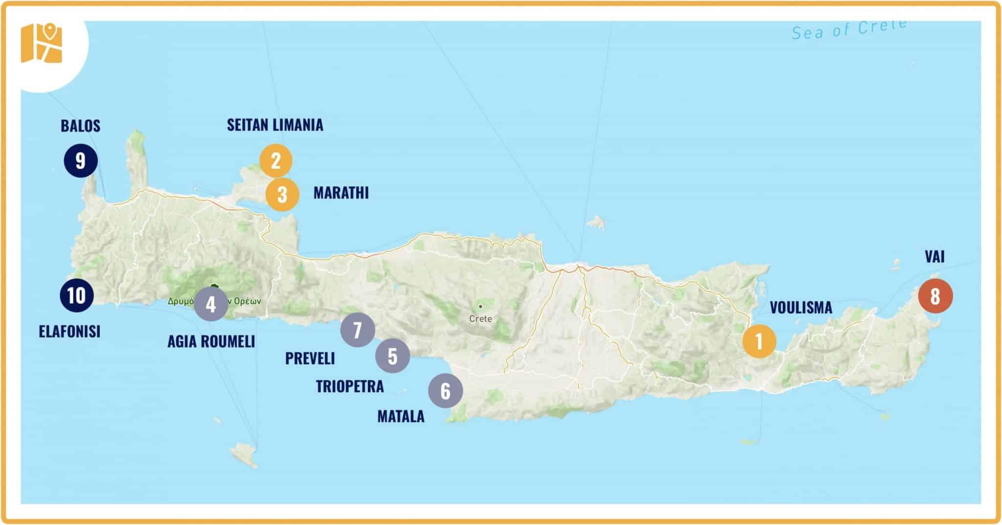 Carte des plus belles plages de Crète