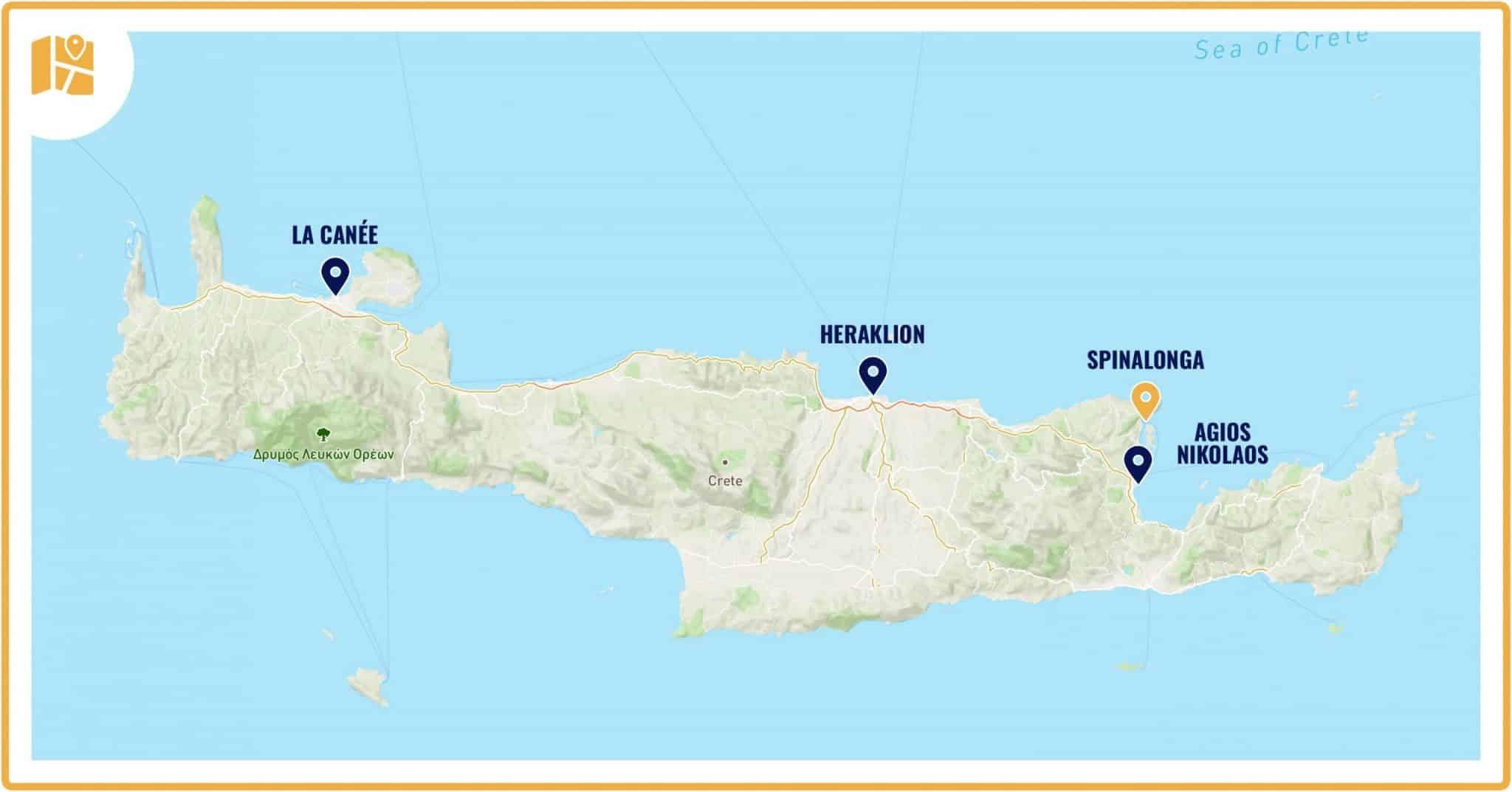 Carte de la Crète avec Spinalonga