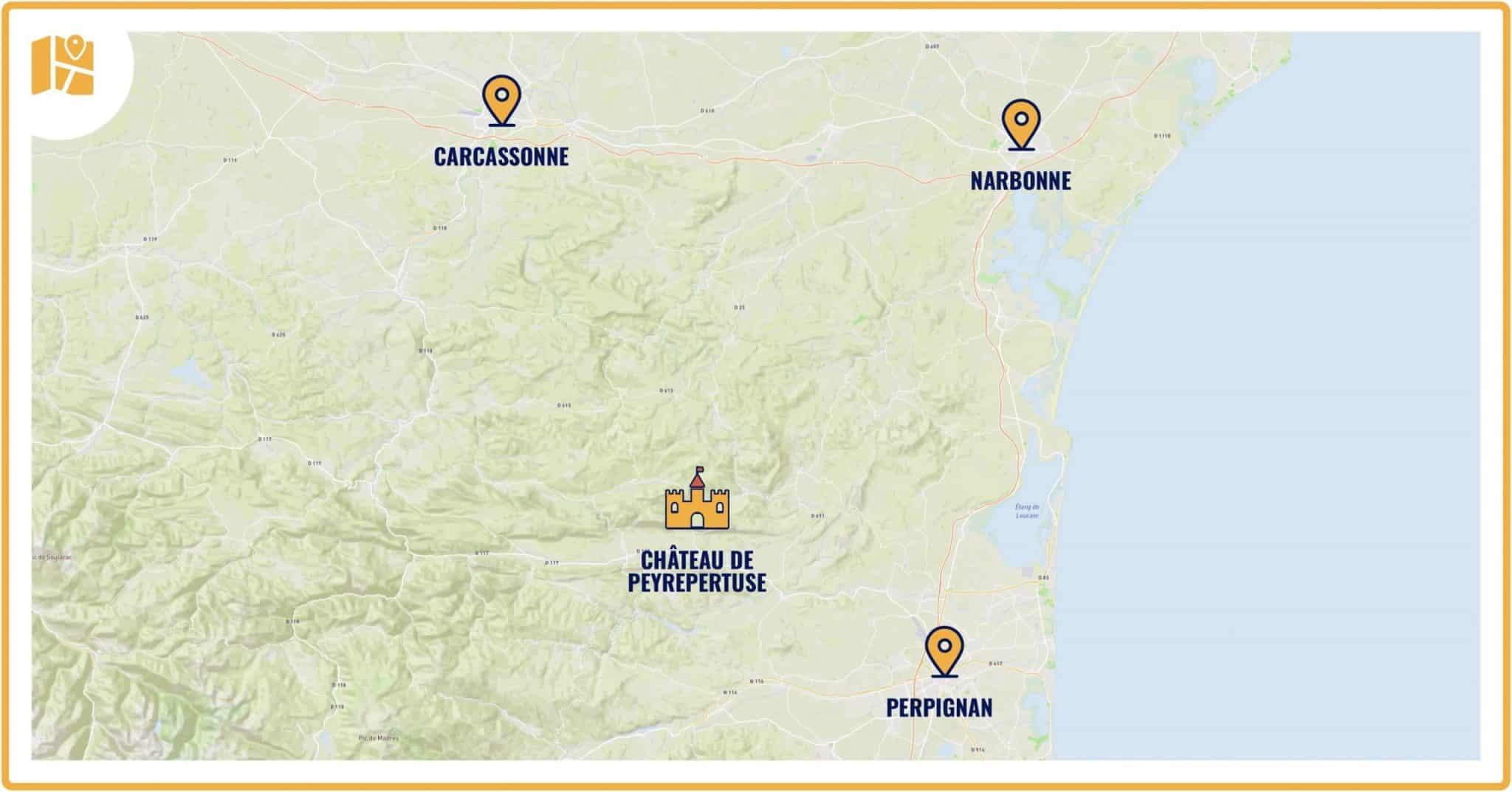 Carte situant le château de Peyrepertuse par rapport aux grandes villes d'Occitanie