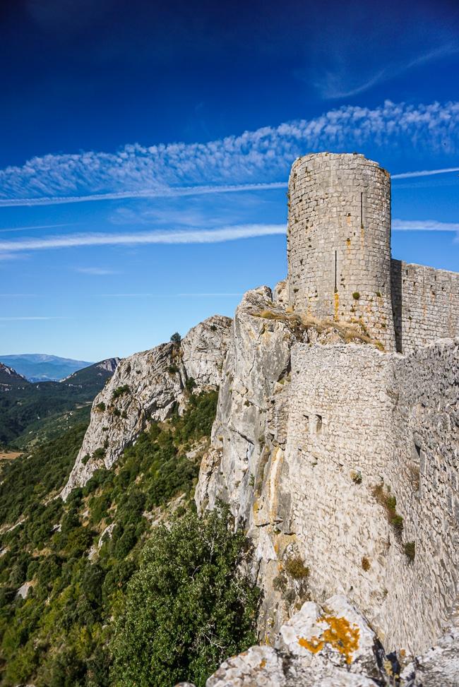 Photographie d'une tour du château de Peyrepertuse
