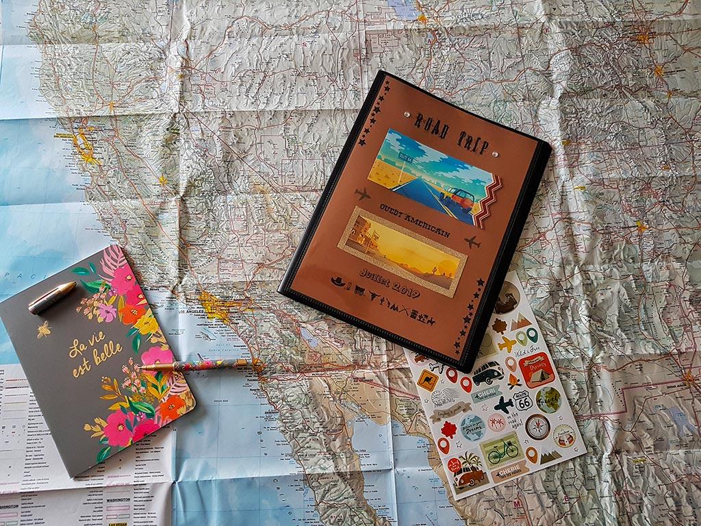 Exemple d'un carnet de ovyage sur le format d'un road book pour un trip au etats unis