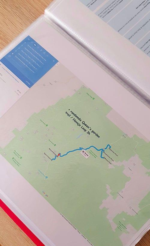 Exemple d'un carnet de ovyage sur le format d'un road book pour un trip dans l'ouest americain