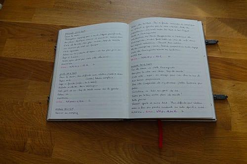 Exemple de page intérieur d'un carnet de voyage